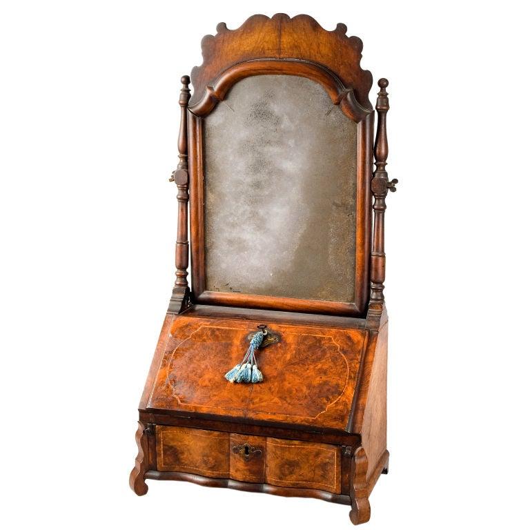 A Fine Dutch Rococo Mirror Back Dressing Or Writing Box At