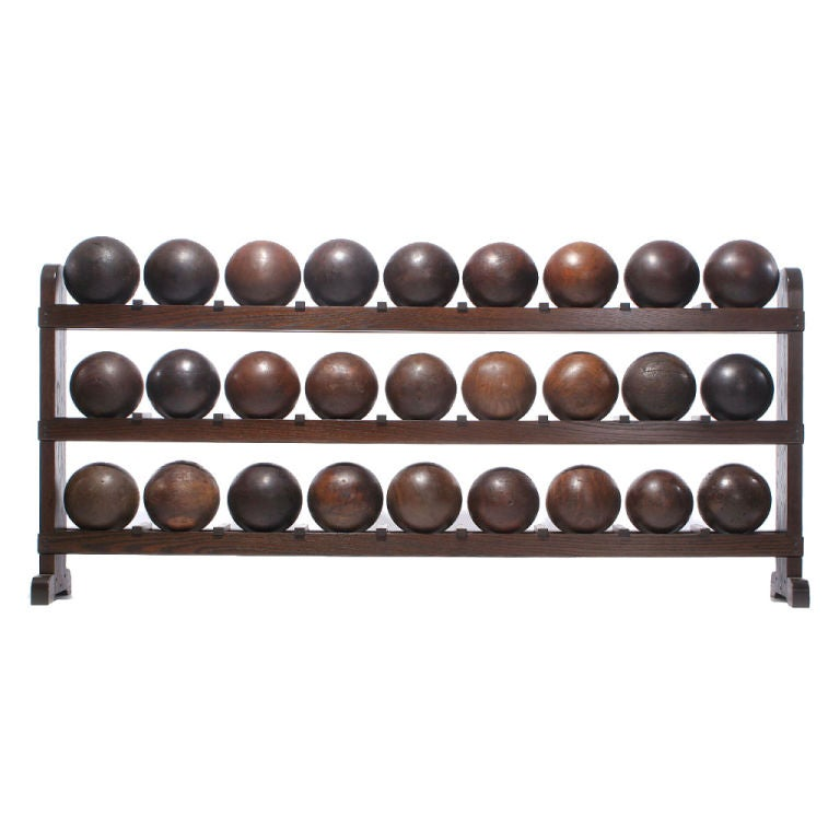 Large lucite chrome and brass coffee table at 1stdibs - Lignum Vitae Bowling Ball Rack For Sale At 1stdibs