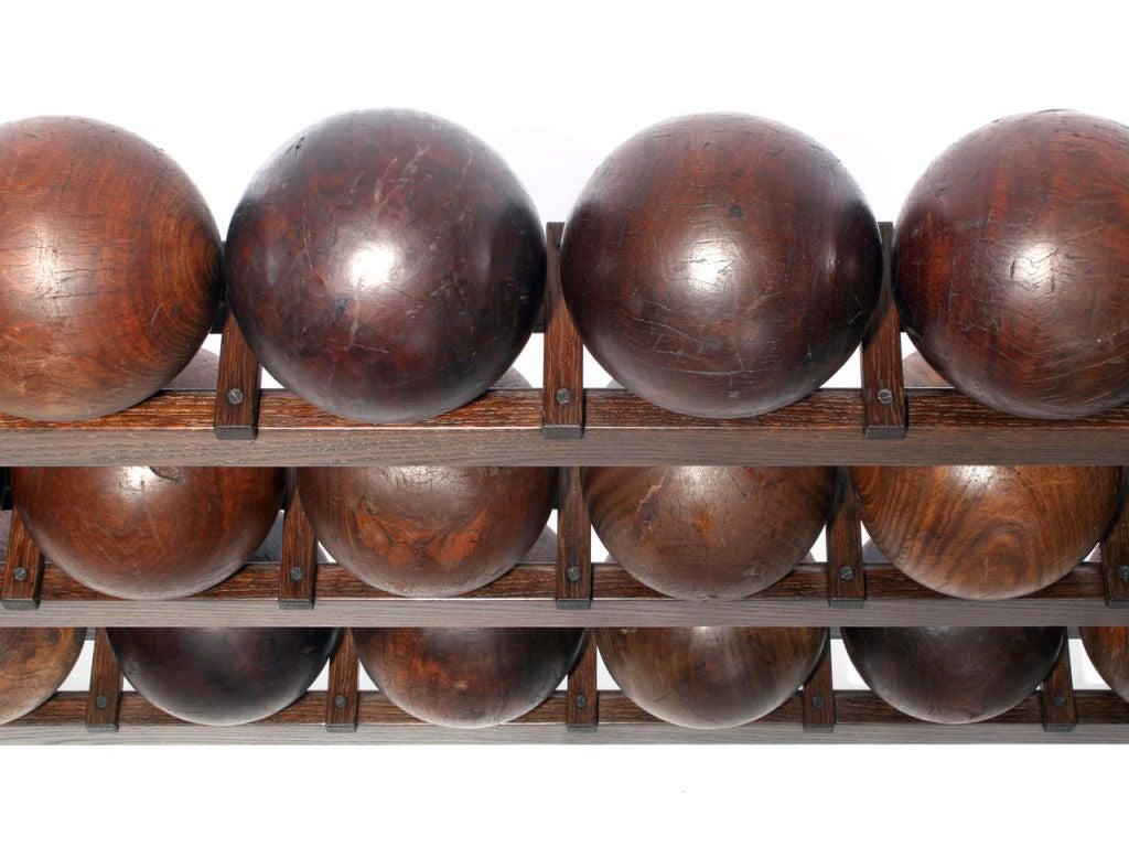 Industrial Lignum Vitae Bowling Ball Rack For Sale