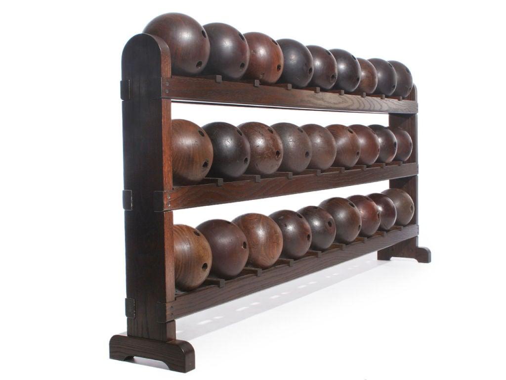 20th Century Lignum Vitae Bowling Ball Rack For Sale