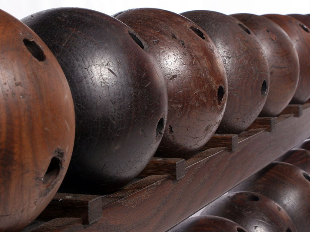Oak Lignum Vitae Bowling Ball Rack For Sale