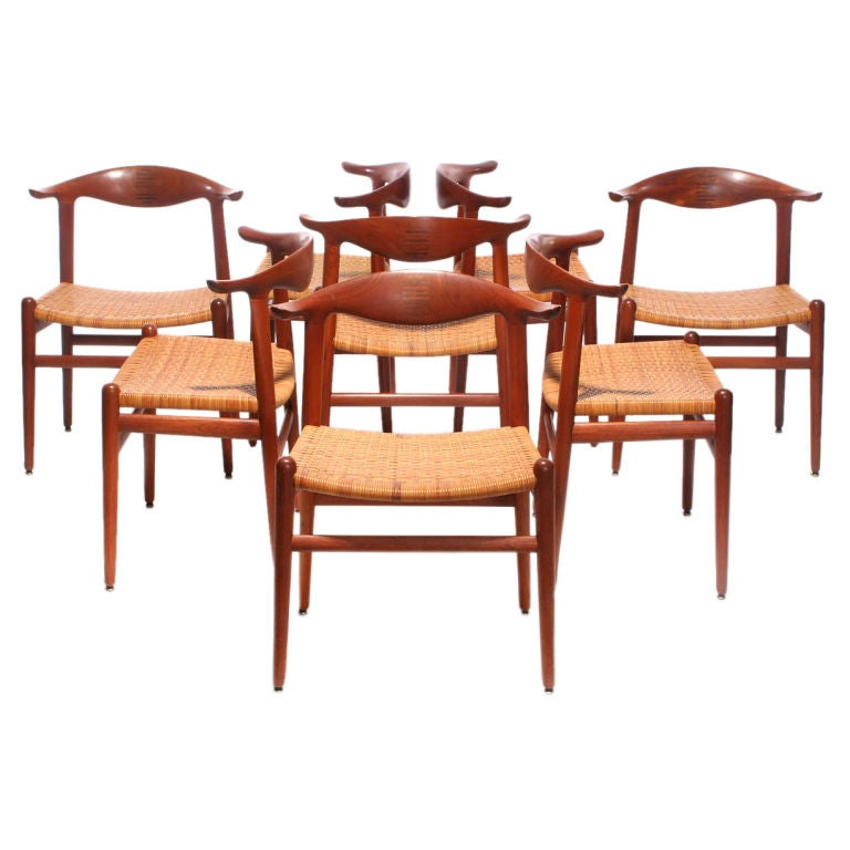 This four wishbone chairs by hans wegner is no longer available - The Cowhorn Chair Designed By Hans Wegner At 1stdibs