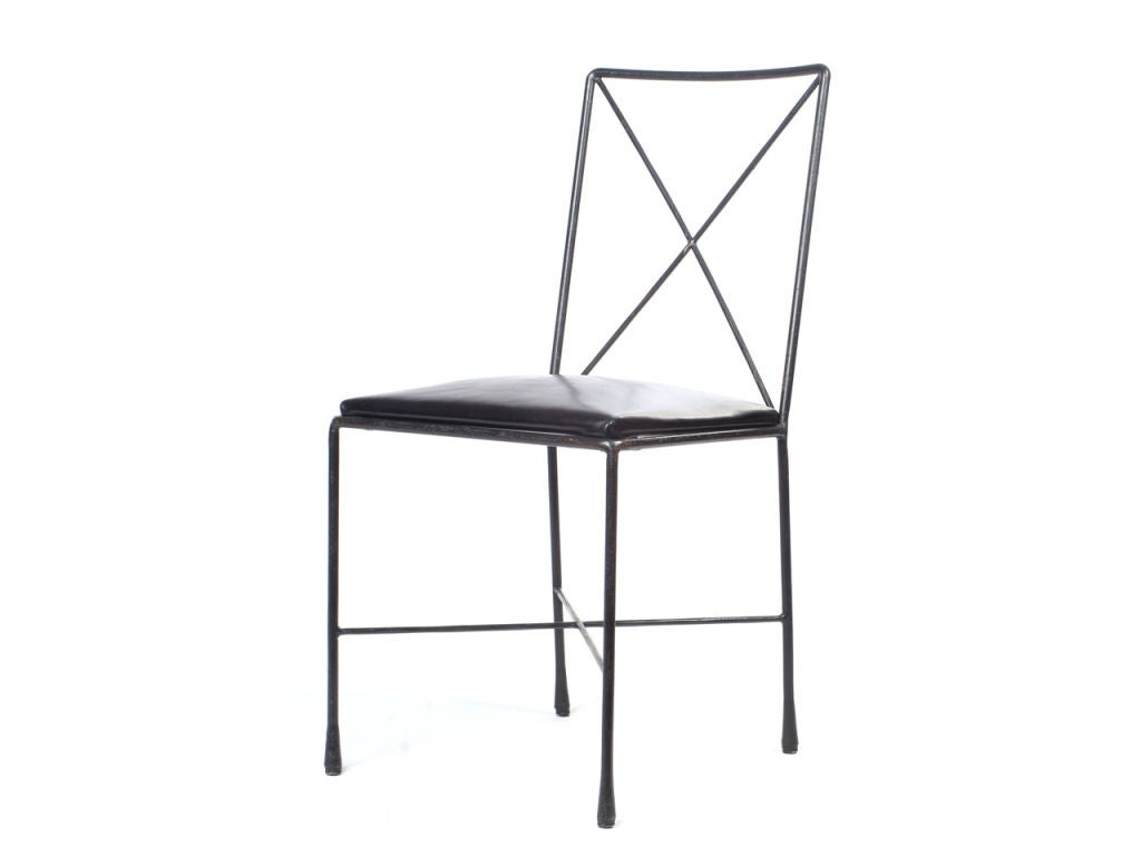 wrought iron x back dining chairs designed by darrell landrum 3