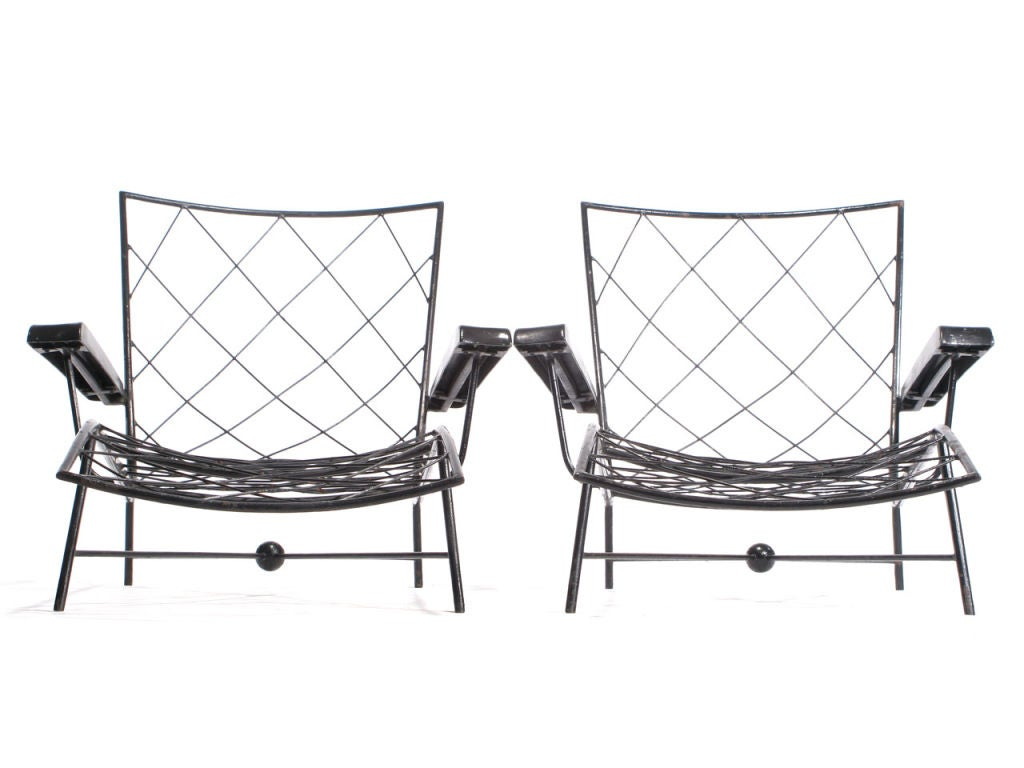 Pair of wrought iron chaises longues at 1stdibs for Black wrought iron chaise lounge