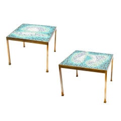 Pair of Brass and Glass Mosaic Tile End Tables
