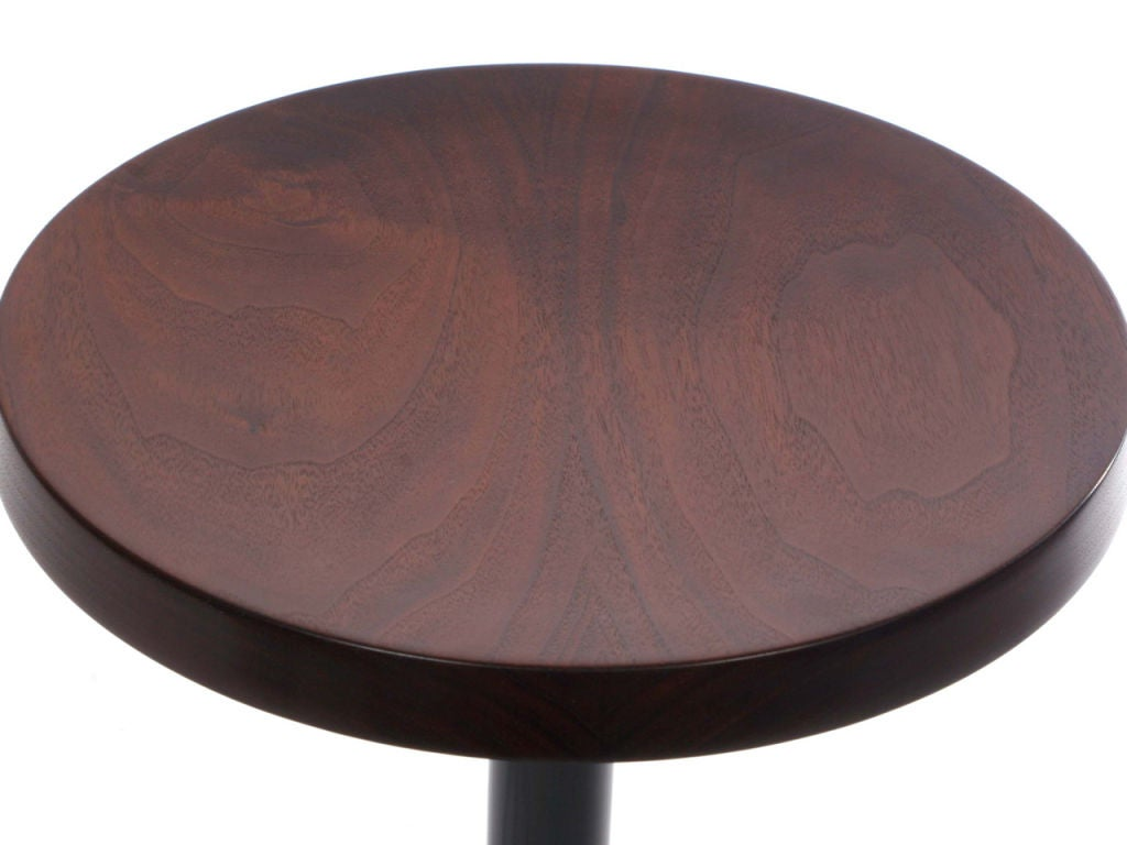 Industrial Swivel Counter Stool with Turned Walnut Seat For Sale