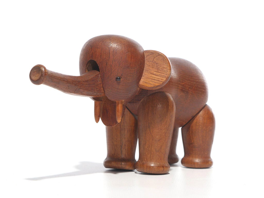 Scandinavian Modern Oak Elephant by Kay Bojesen For Sale