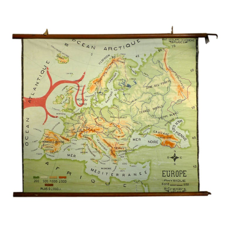 Hand Painted Canvas map of Europe