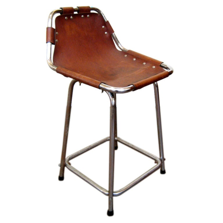 Charlotte Perriand Chrome And Leather Bar Stool At 1stdibs