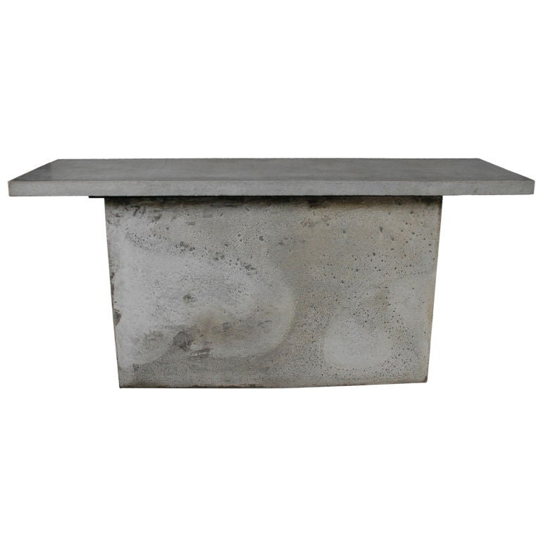 Gorgeous Mid Century Two Piece Cast Concrete Console Table At 1stdibs