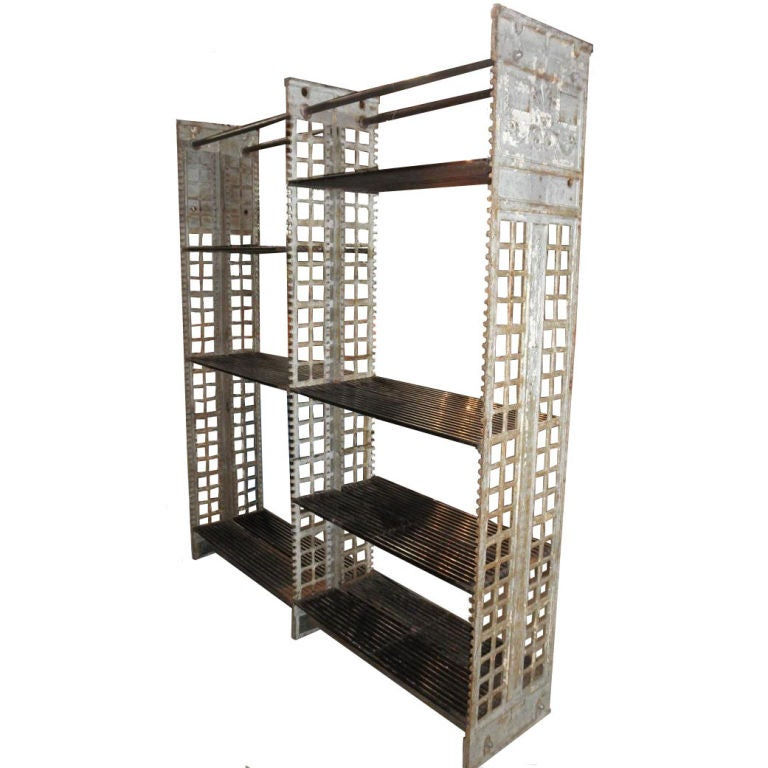 Amazing Cast Iron Shelving With Metal Shelves At 1stdibs