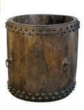 Antique Drum Vessel of Teak with Bronze Fittings