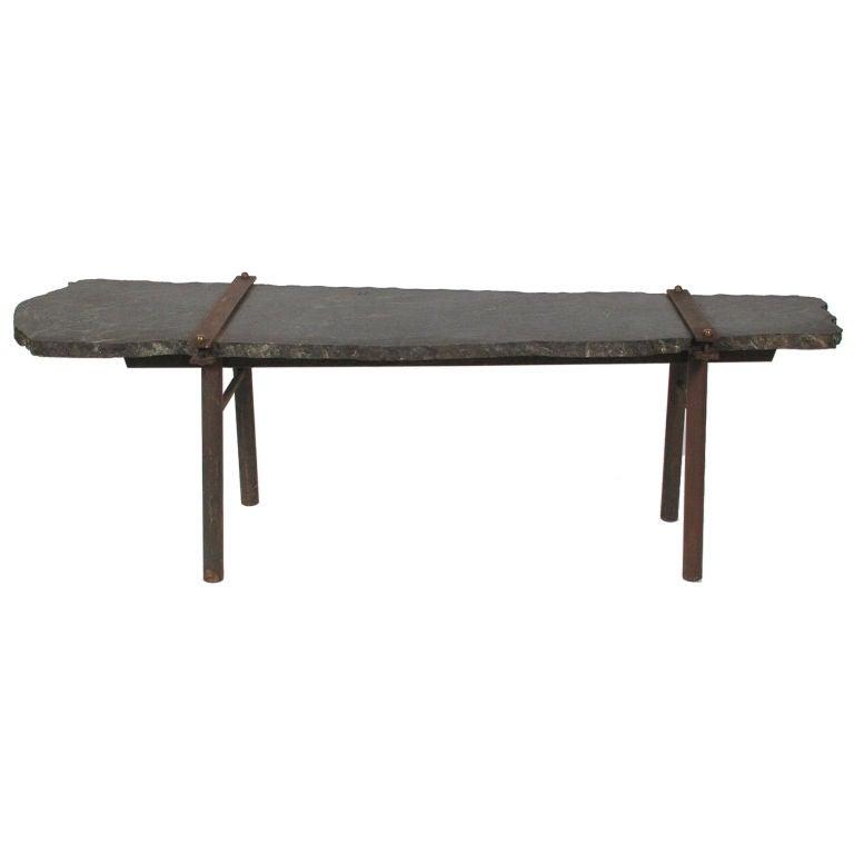 Nakashima Style Green Stone Coffee Table W Iron Legs At 1stdibs