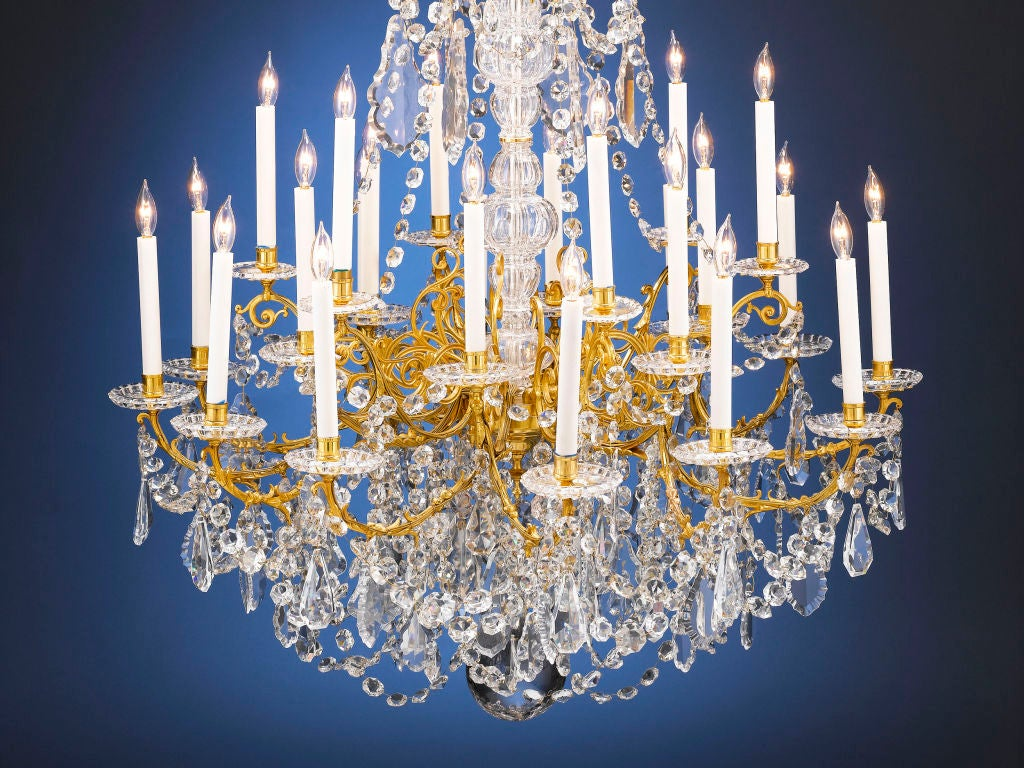 Outstanding 24 Light Baccarat Crystal Chandelier At 1stdibs