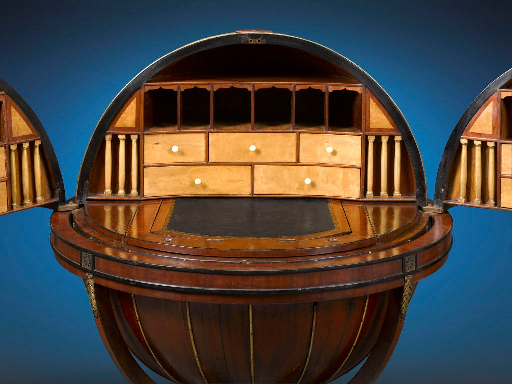 19th Century English Globe Desk by Morgan & Sanders For Sale