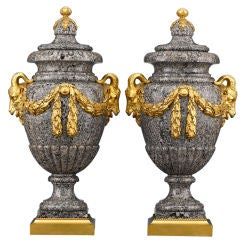 Henri Dasson Marble and Bronze Urns