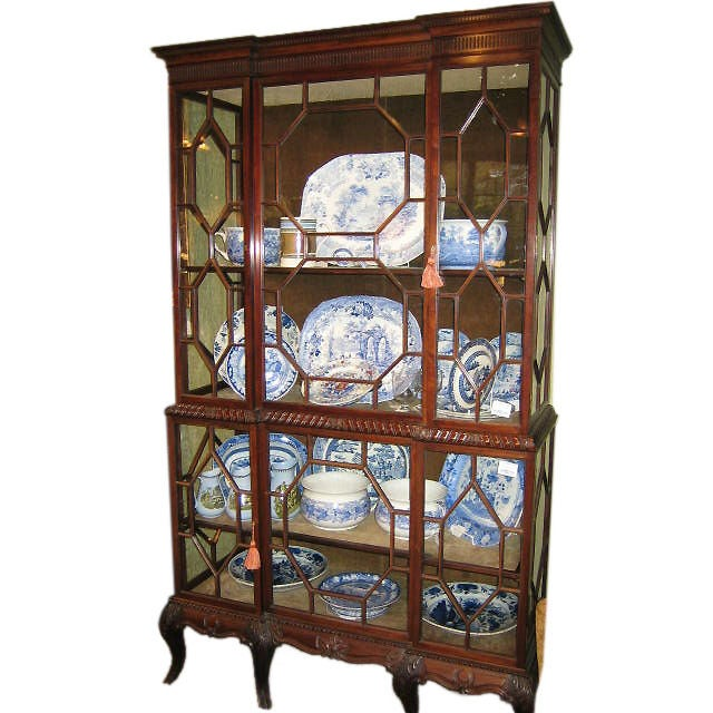 English Mahogany Chippendale Style Double China Display