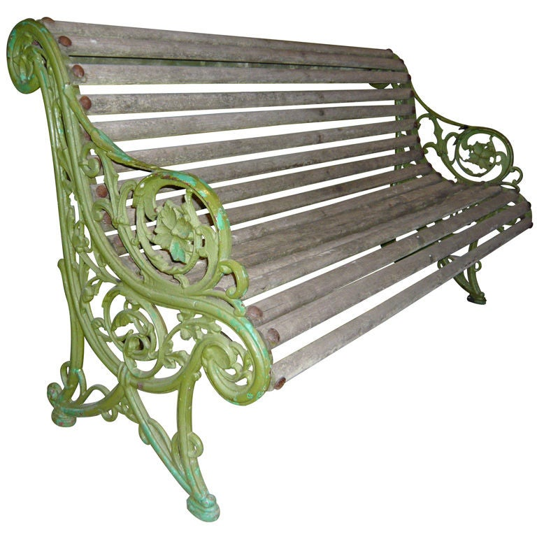 English wood and cast iron garden bench at 1stdibs - Wood and iron garden bench ...