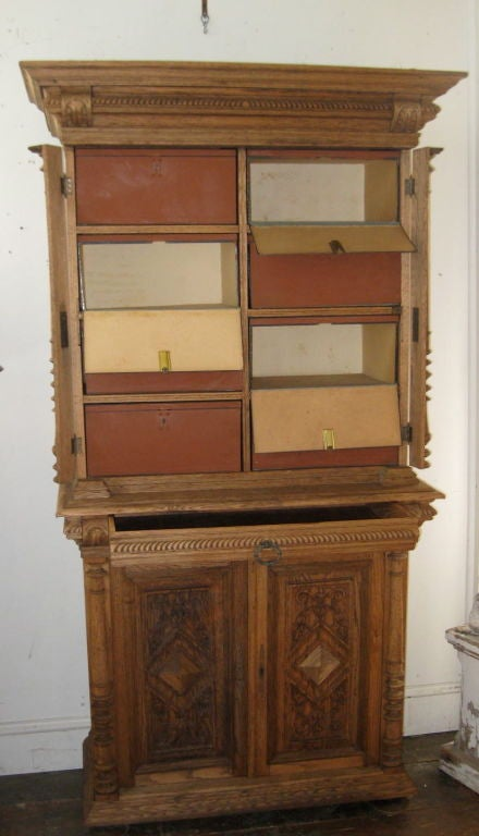 1920 39 s bleached flemish biblioteque storage cabinet at 1stdibs for Bleached wood kitchen cabinets