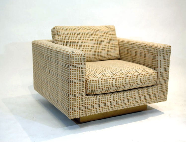 Dunbar Club Chairs with Original Jack Lenor Larsen Upholstery 1970s In Good Condition For Sale In Dallas, TX