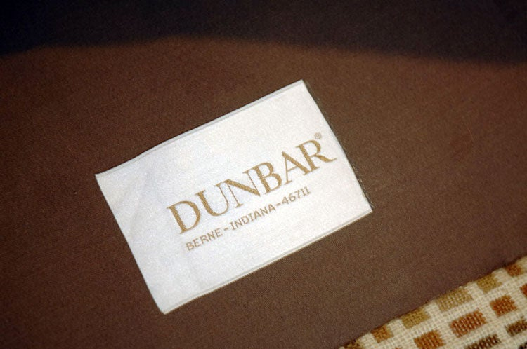 Bronze Dunbar Club Chairs with Original Jack Lenor Larsen Upholstery 1970s For Sale
