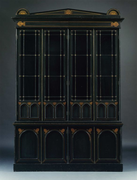 AN UNUSUAL REGENCY EBONIZED FOUR DOOR BOOKCASE image 2