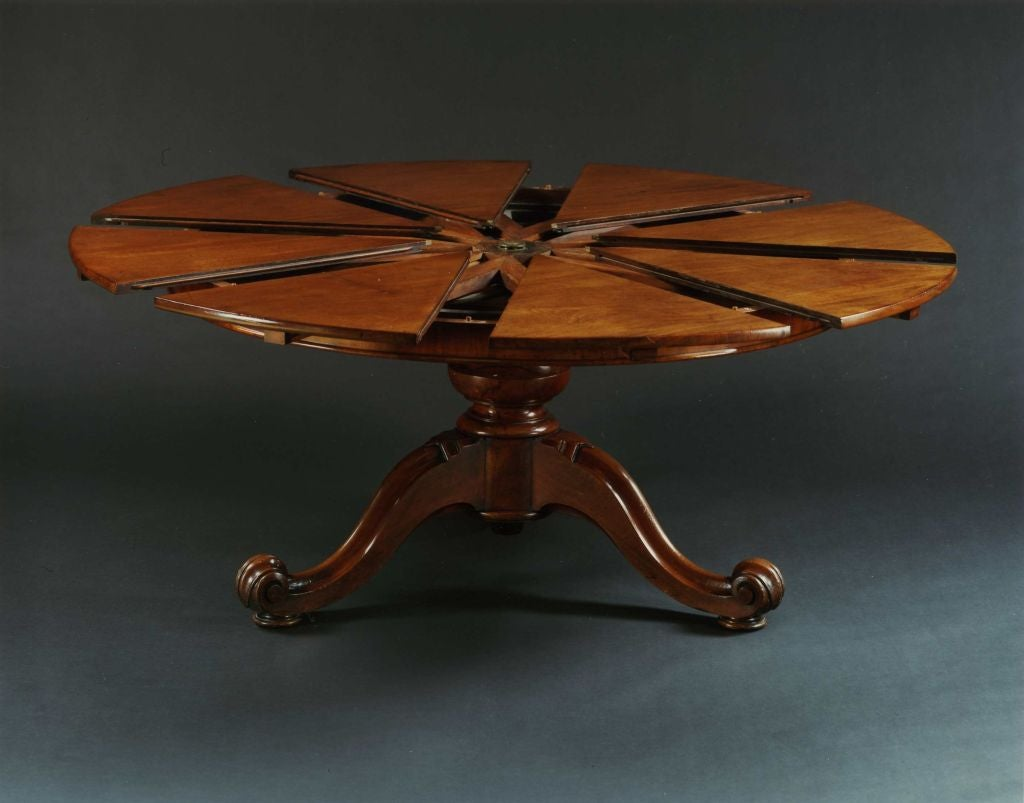 A Very Fine Circular Mahogany Expanding Jupe Table At