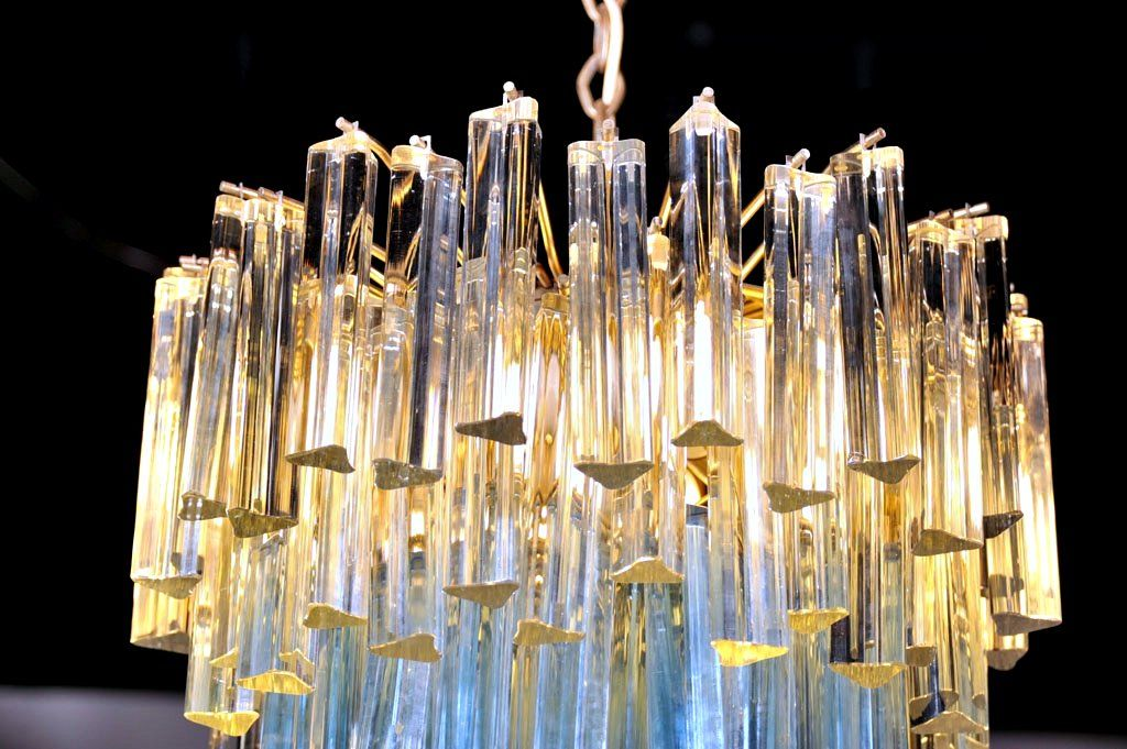 Murano Glass Chandelier with White and Blue Crystals by Camer 6