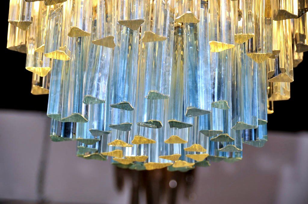 Murano Glass Chandelier with White and Blue Crystals by Camer image 3
