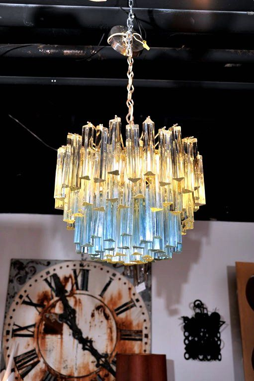 Murano Glass Chandelier with White and Blue Crystals by Camer image 2