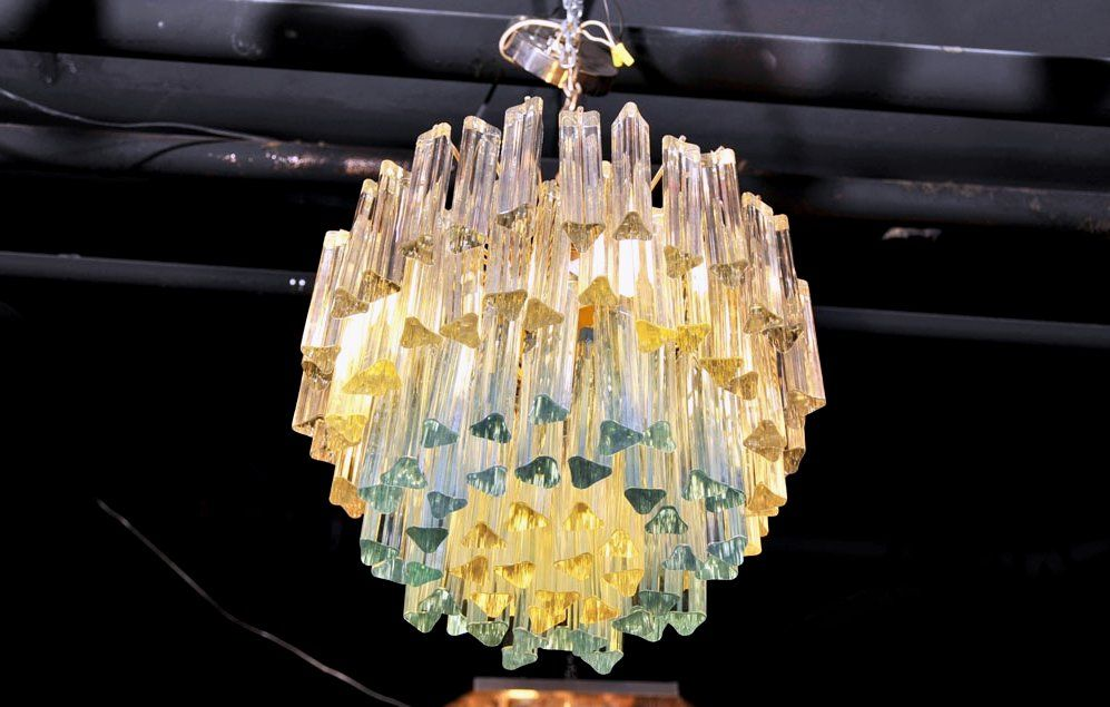 Murano Glass Chandelier with White and Blue Crystals by Camer 4