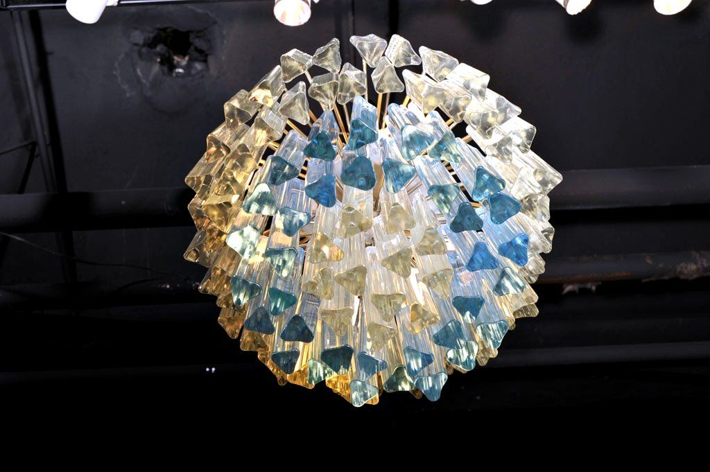 Murano Glass Chandelier with White and Blue Crystals by Camer image 5