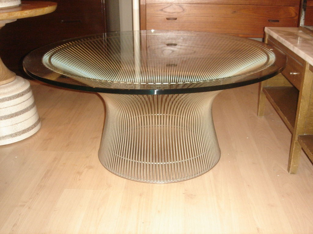 Early Warren Platner Wire and Glass Coffee Table by Knoll For Sale ...