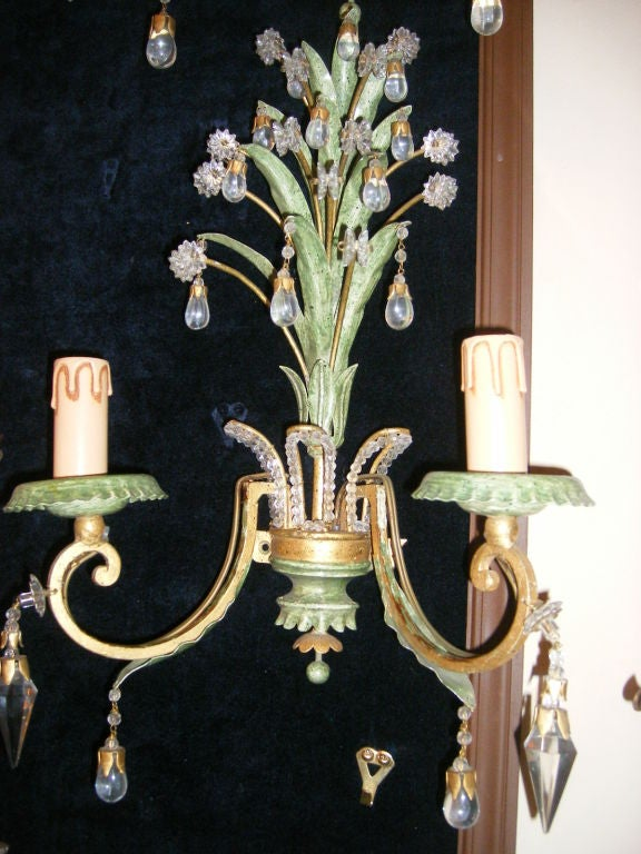 Painting Brass Wall Sconces : Painted and Gilt Metal Sconces at 1stdibs