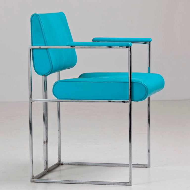A set of four turquoise vinyl upholstered chairs at 1stdibs - Turquoise upholstered dining chair ...