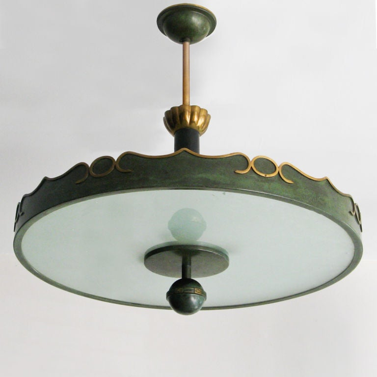 Painted Fantastic Swedish Art Deco ceiling fixture in patinated brass. For Sale