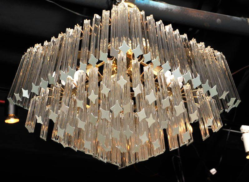 Murano glass diamond chandelier at 1stdibs an elegant murano glass chandelier comprised of four concentric diamond shaped tiers of clear mozeypictures Images