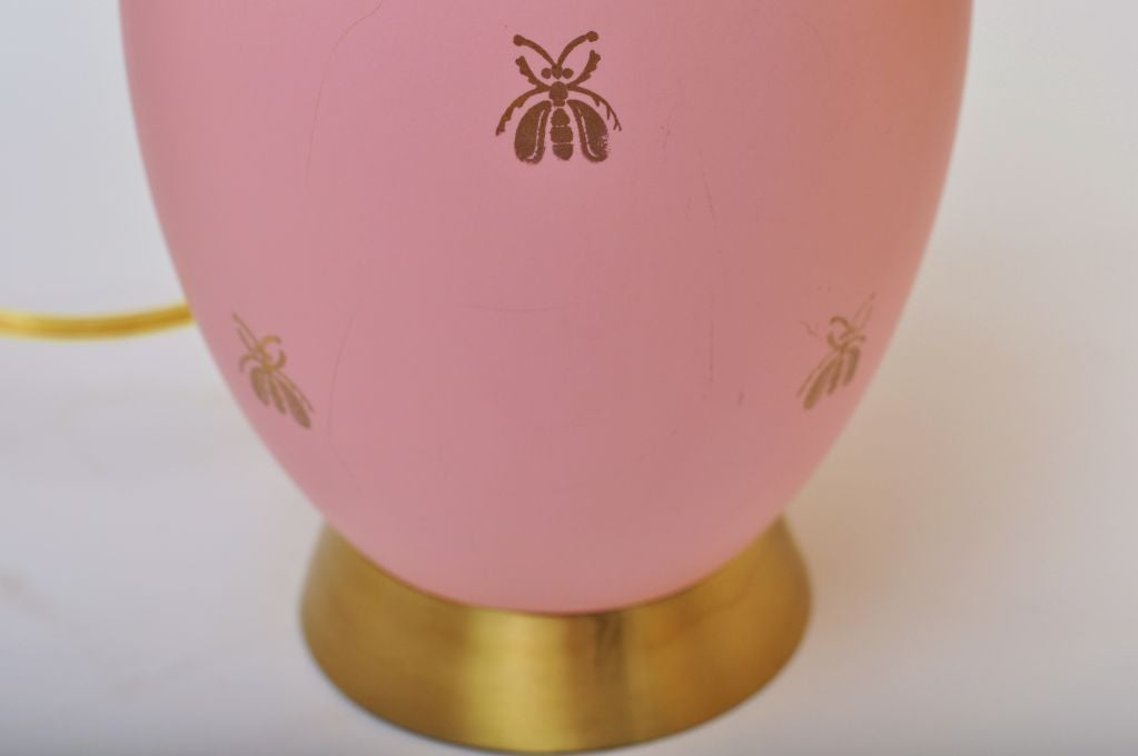 BEAUTIFUL PAIR OF PINK AND GOLD BEE LAMPS 5