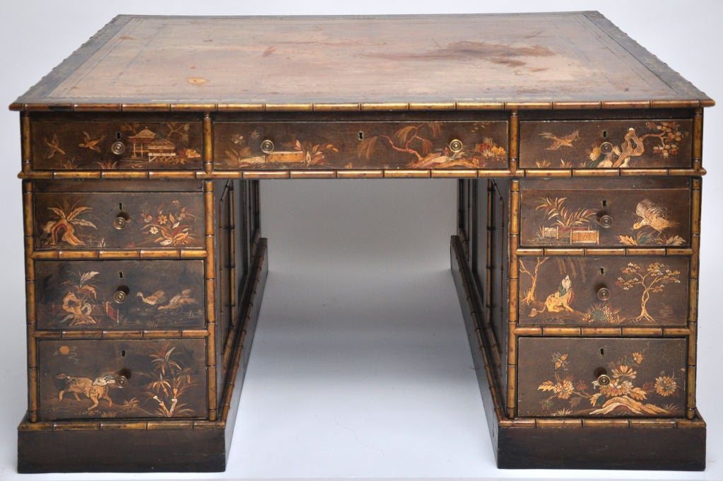 CLASSICALLY  STYLED CHINOISERIE DESK.  COULD BE A PARTNER'S DESK - CABINETS ON BACK SIDE.  VERY LADUREE IN LOOKS.
