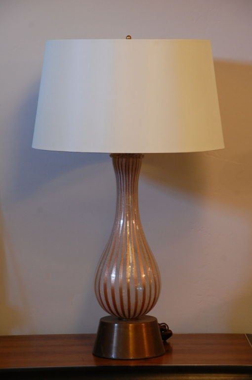 Tall Murano Glass Table Lamp By Dino Martens For Aureliano Toso. Rewired;  With New