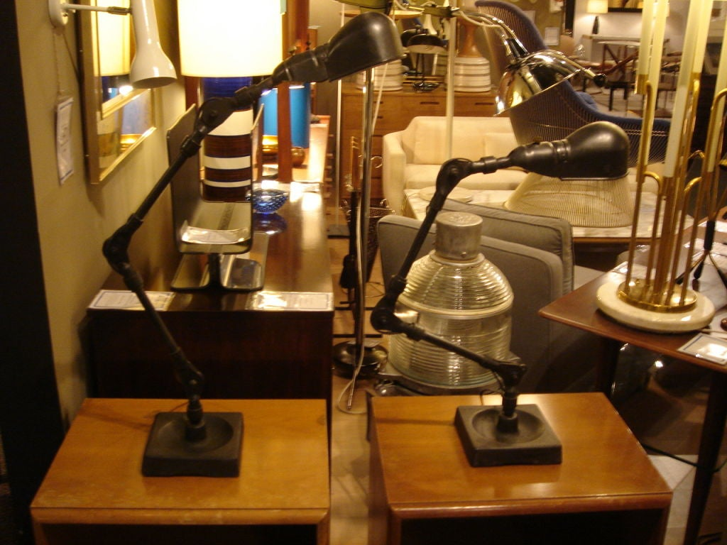 Pair of Industrial Table Lamps by Fostoria For Sale 2