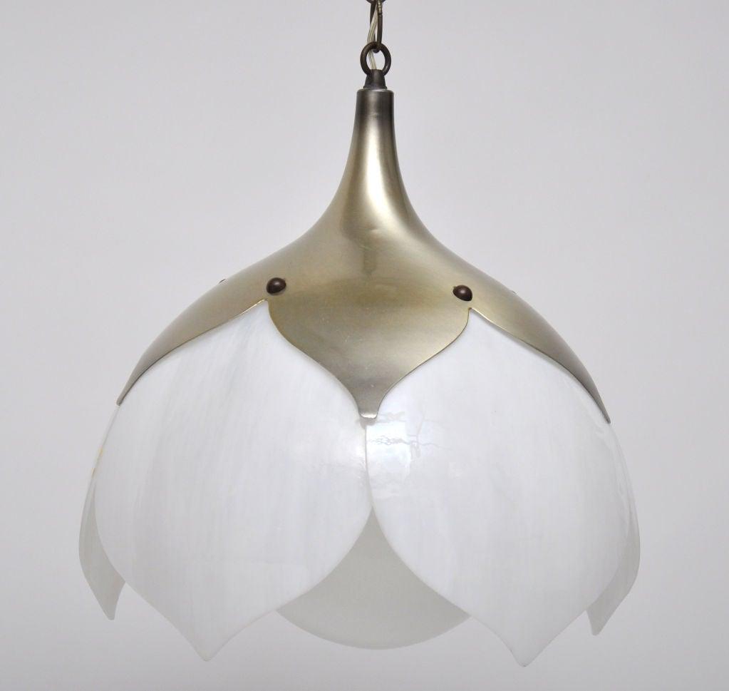 brass and white glass flower petal pendant light circa