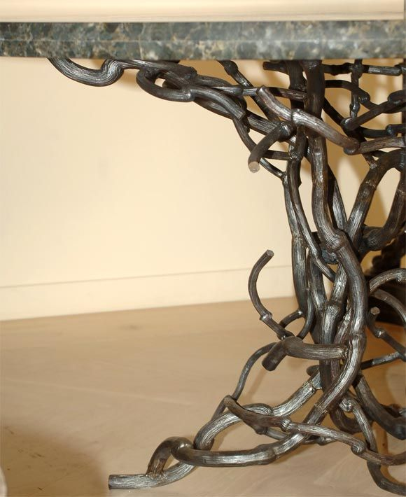 Candace Barnes Now Hand-Forged Bronze Napa Branch Table in Gold Leaf For Sale 3