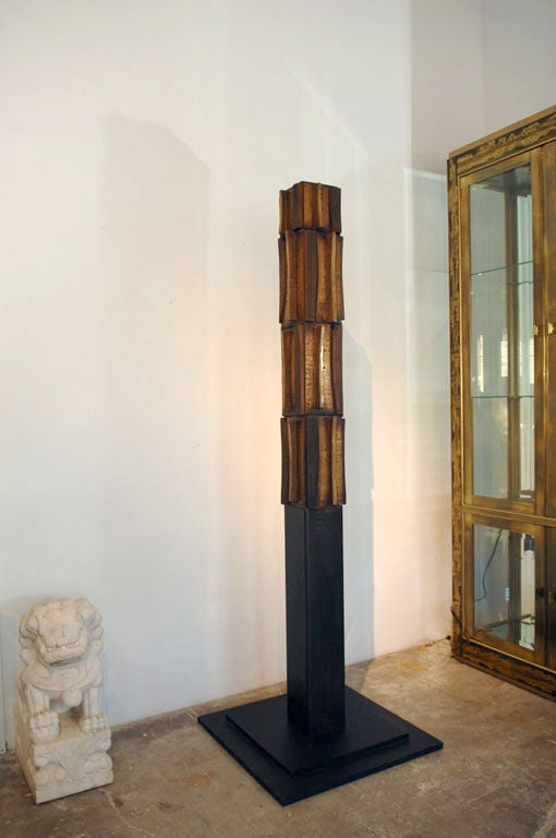 Paul Maxwell Bronze and Textured Wood TOTEM Sculpture, 1967 In Excellent Condition For Sale In Dallas, TX