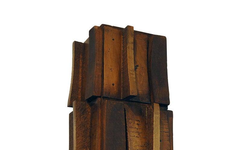 Mid-20th Century Paul Maxwell Bronze and Textured Wood TOTEM Sculpture, 1967 For Sale