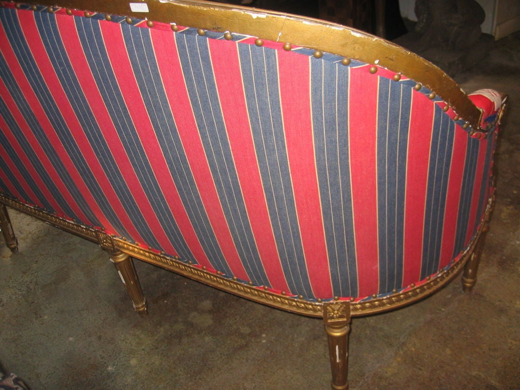 19th c. Gilded Louis XVI Settee  in Vintage Suzani Upholstery 4