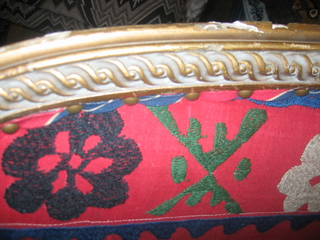 19th c. Gilded Louis XVI Settee  in Vintage Suzani Upholstery 5