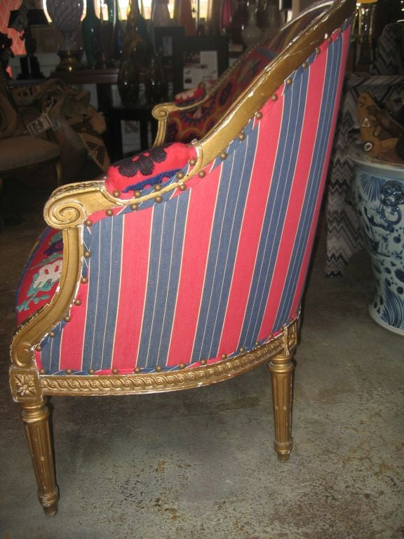 19th c. Gilded Louis XVI Settee  in Vintage Suzani Upholstery 6