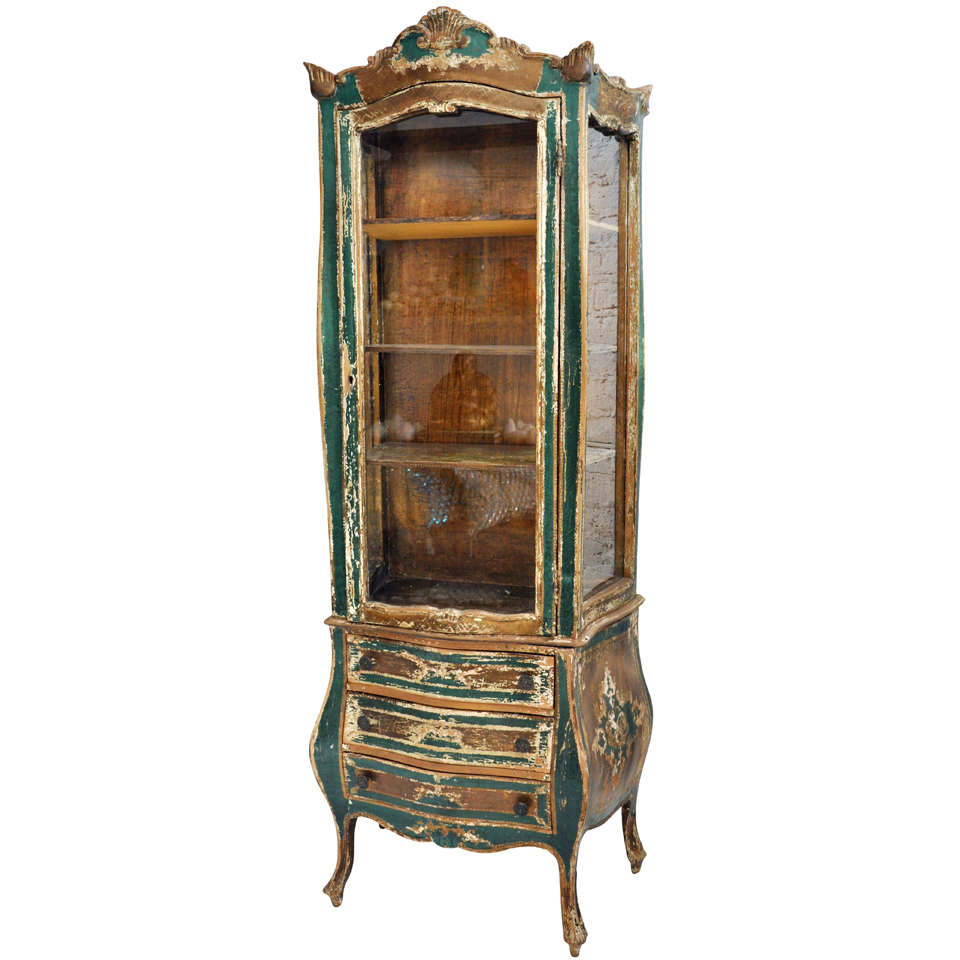 Antique Distressed Green French Cabinet For Sale