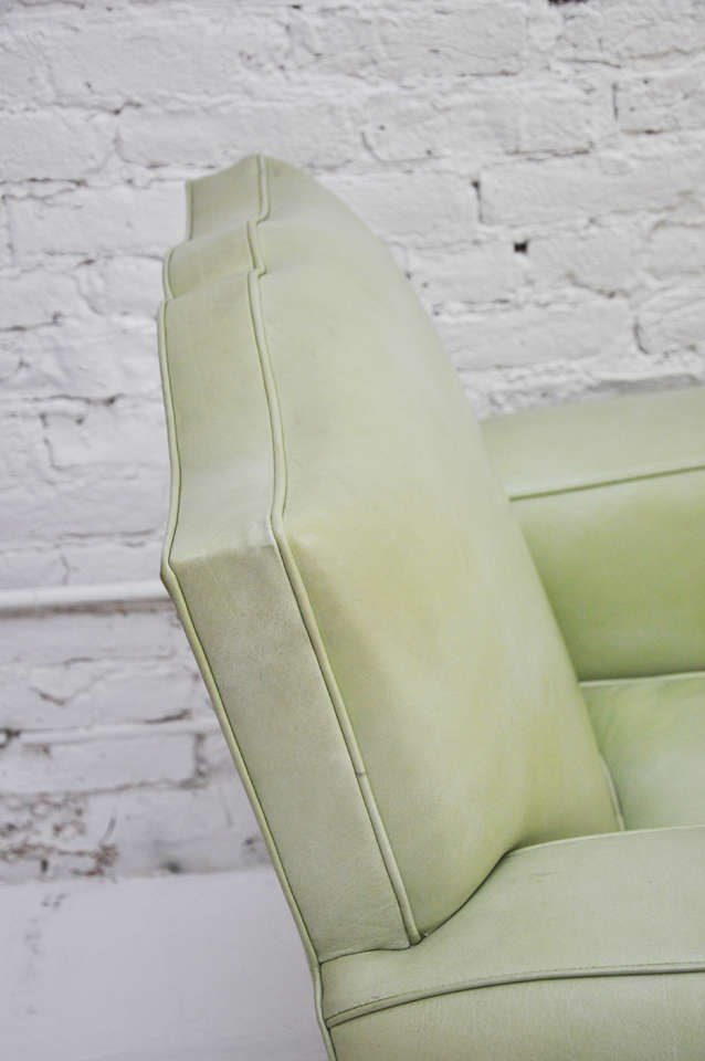 Mint Green Leather Midcentury Quot Mustache Quot Chair At 1stdibs